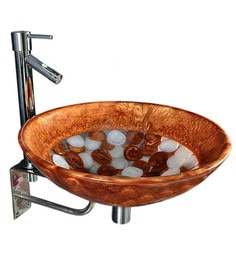 Joyo Cera Golden & White Resin Wash Basin With Stand,Extantion Body Pillar Tap & Brass Waste Coupling (Model: Joyo Cera 258)