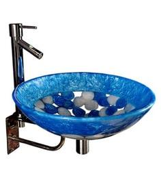 Joyo Cera Resin Designer Blue & White Wash Basin With Stand