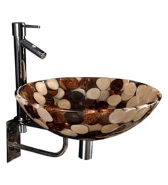 Joyo Cera Resin Designer Brown Wash Basin With Stand - 1691267