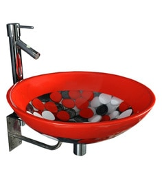 Joyo Cera Resin Designer Red & Black Wash Basin With Stand