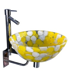 Joyo Cera Resin Designer Yellow & White Wash Basin With Stand - 1691236