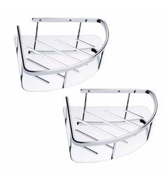 Joyo Cera Silver Stainless Steel 9 X 9 Inch Corner Bathroom Shelves - Set Of 2 (Model: Gls174)