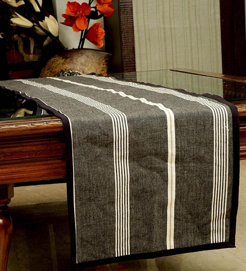 Jodhaa Striped Black Cotton Table Runner