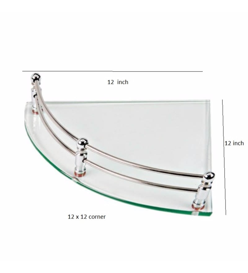 Buy Joyo Cera Transparent Glass 12 x 12 Inch Corner Bathroom Shelf ...