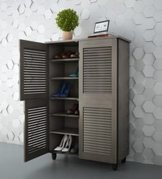 Jurou Four Door Shoe Cabinet In Two Tone Wenge Finish ...