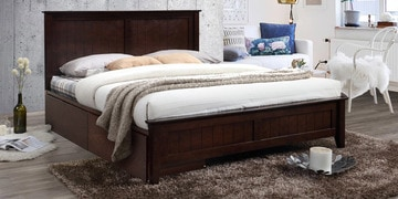 Hama Queen Size Bed With Drawer Storage In Milan Walnut Finish