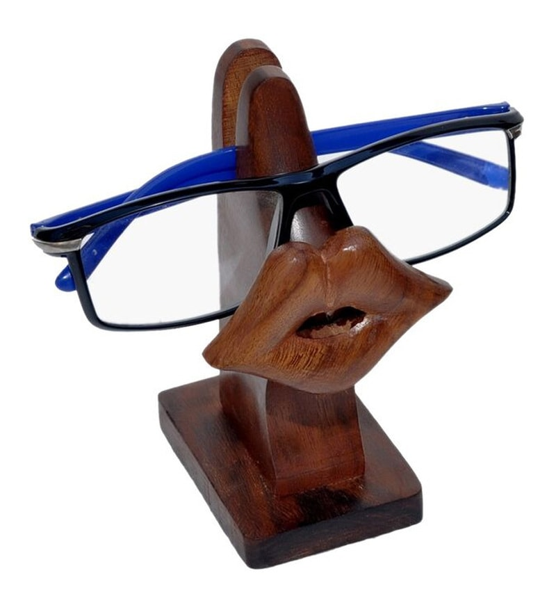Lips Wooden Brown Spectacle Stand by Jupiter Gifts and Crafts