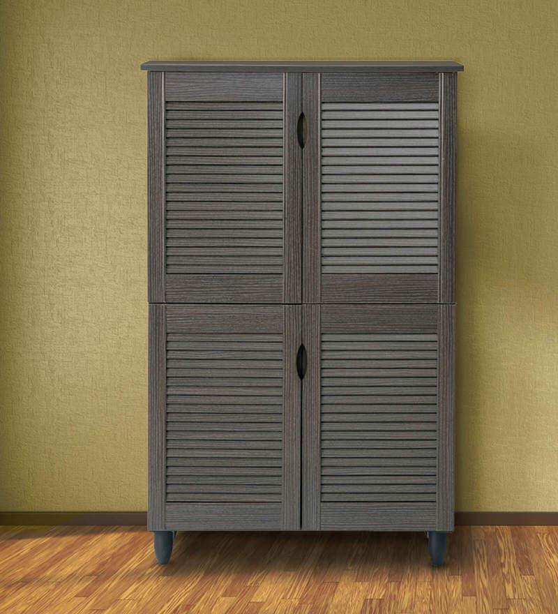 Jurou Four Door Shoe Cabinet in Two Tone Wenge Finish by Mintwud
