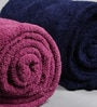 Just Essential Blue and Purple Wool & Polyester Single Size Blanket - Set of 2