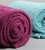Blue and Purple Wool & Polyester Single Size Blanket - Set of 2 by Just Essential