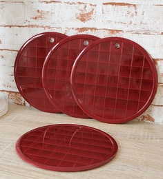 JVS Rosewood Plastic Coasters - Set Of 4
