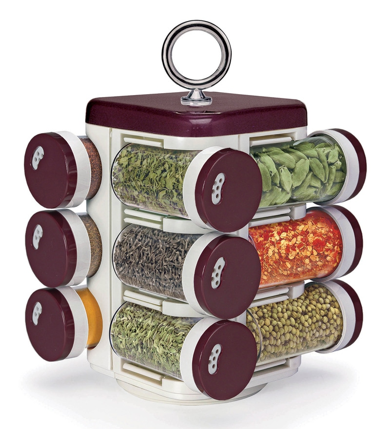Jvs Kitchen Mate Red 100 ML Spice Rack - Set of 12