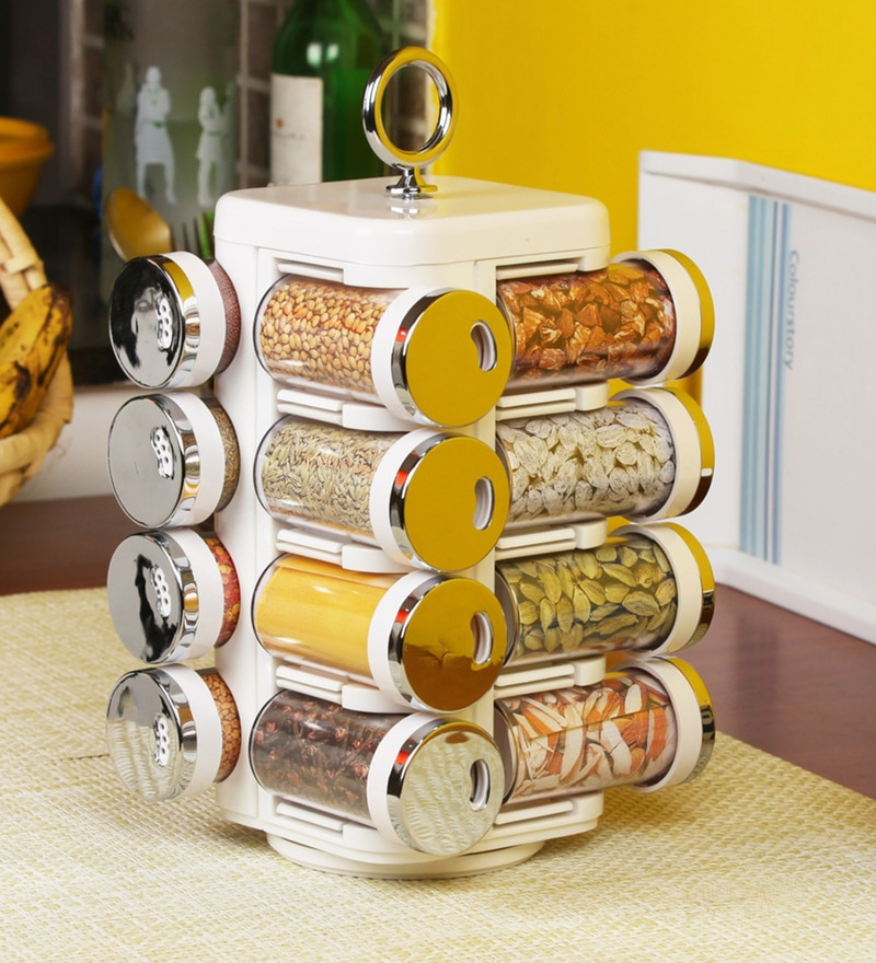 Jvs Majestic Solid White Plastic Round 50 ML Spice Tower - Set of 16