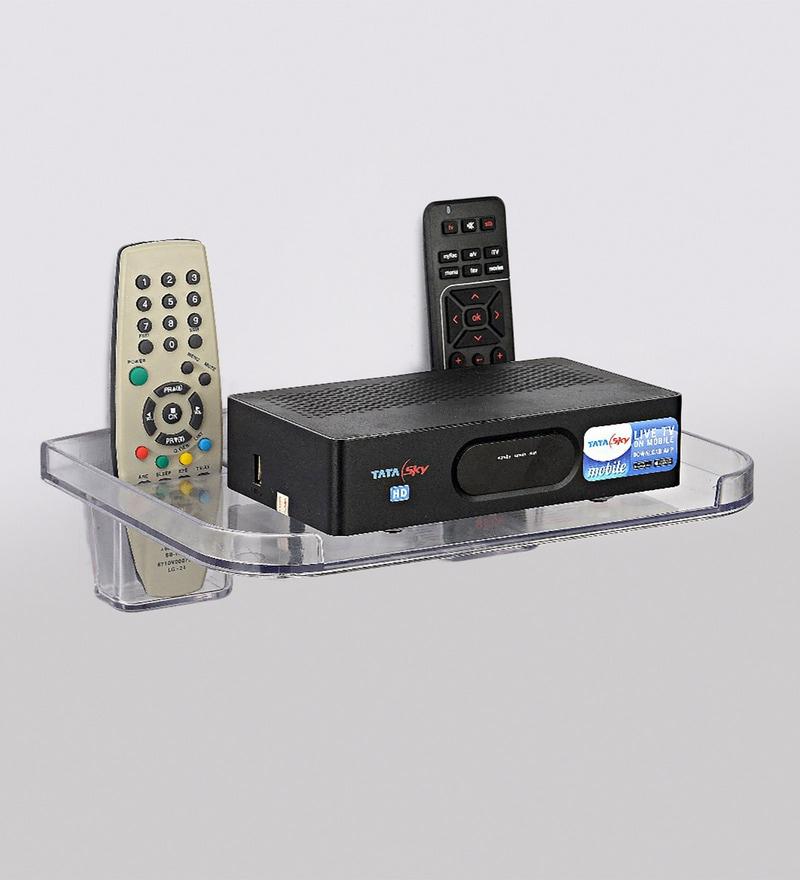 JVS Transparent Plastic Set Top Box & Remote Holder