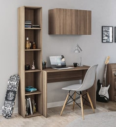 Karanga Study Table With Book Shelf And Cabinet In Light Walnut Finish