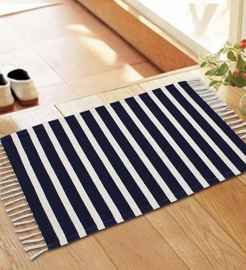 Navyblue Colour Woven Stripe Rug by Azaani