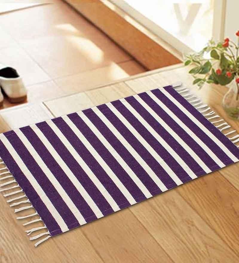 Purple Jute 34 x 22 Inch Woven Stripe Area Rug by Azaani