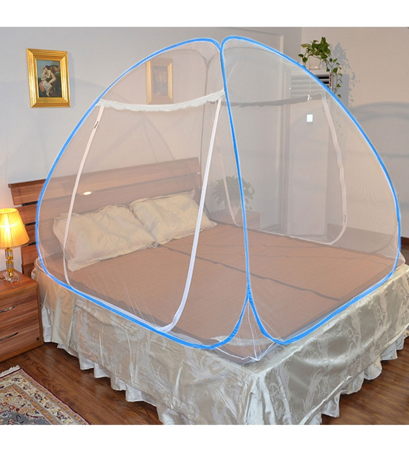 Kawachi Double Bed Size Folding Mosquito Net White Polyester & Cotton Mosquito Net