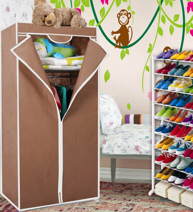 Kawachi Single Door Space Saving Plastic & Metal Foldable Wardrobe & Shoe Rack Combo