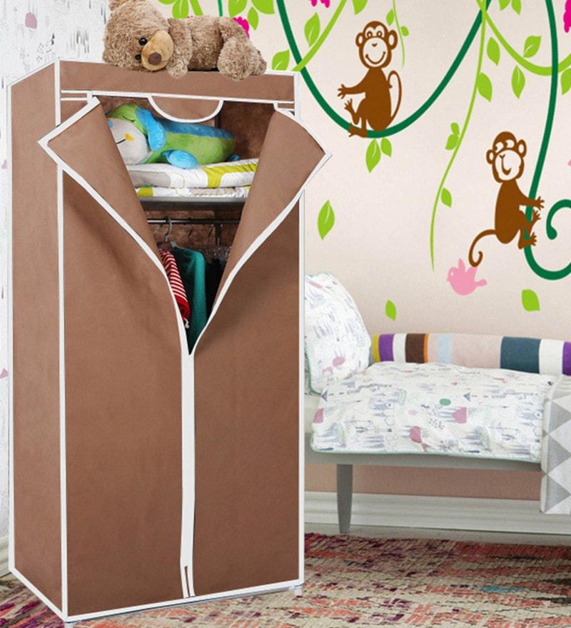 Kawachi Single Door Space Saving Resin & Metal Brown Foldable Wardrobe