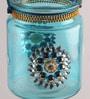 Blue Glass Tea Light Holder by Gupta Glass Gallery