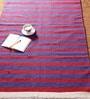 Blue & Red Cotton 78 x 42 Inch Patti Dar Dhurrie by Khadi