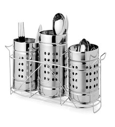 King International Stainless Steel Cutlery Holder - Set Of 3
