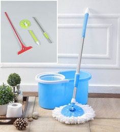 Kingsburry Plastic Blue Mop With Free Mop Rod & Apple Wiper