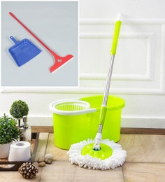 Kingsburry Plastic Green Mop With Free Dust Pan & Apple Wiper