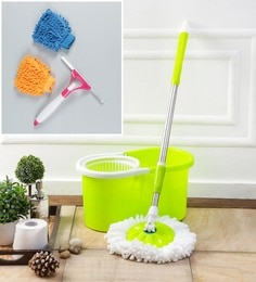 Kingsburry Plastic Green Mop With Free Hand Gloves & Spray Glass Wiper
