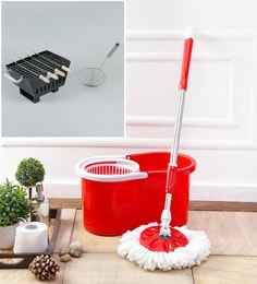 Kingsburry Plastic Red Mop With Free Barbeque & Deep Fry Strainer