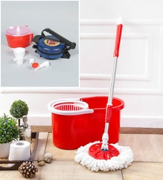Kingsburry Plastic Red Mop With Free Dough Maker & Roti Maker