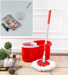 Kingsburry Plastic Red Mop With Free Heating Pad & Deep Fry Stanier