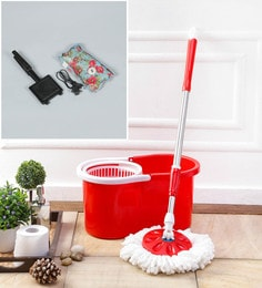 Kingsburry Plastic Red Mop With Free Heating Pad & Gas Toaster