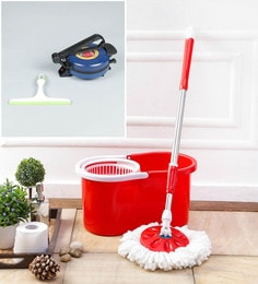 Kingsburry Plastic Red Mop With Free Roti Maker & Hand Wiper