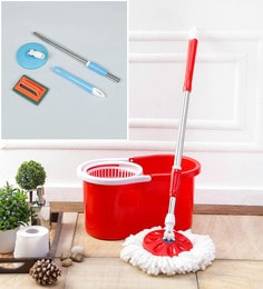 Kingsburry Plastic Red Mop With Free Tile Brush & Mop Rod