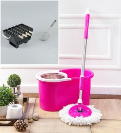 Kingsburry Steel Pink Mop With Free Barbeque & Deep Fry Strainer