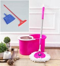 Kingsburry Steel Pink Mop With Free Dust Pan & Apple Wiper