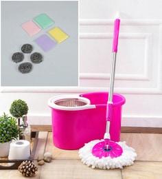 Kingsburry Steel Pink Mop With Free Foam Scrub Pad & Steel Juna