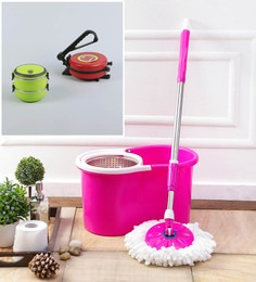Kingsburry Steel Pink Mop With Free Roti Maker & Lunch Box