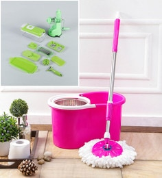 Kingsburry Steel Pink Mop With Free Vegetable Cutter & Juicer