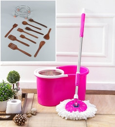 Kingsburry Steel Pink Mop With Free Wooden Cutlery & Gas Trolley