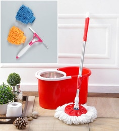 Kingsburry Steel Red Mop With Free Hand Gloves & Spray Glass Wiper