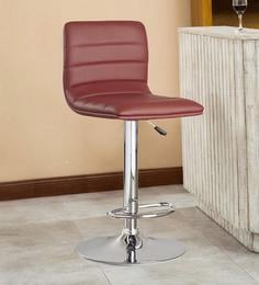Kitchen/Bar Stool In Maroon Leatherette - 1591113