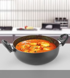 Kitchen Chef 240 Mm Marble Deep Kadai With Glass Lid