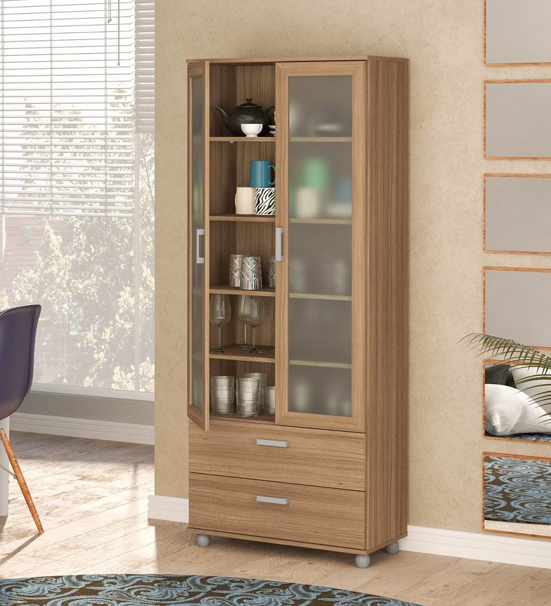 Kikuchi Bookcase cum Hutch in Brown Finish by Mintwud