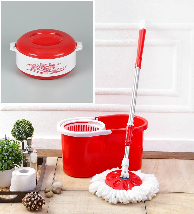 Kingsburry Combo of Red PVC  Mop With Free Casserol
