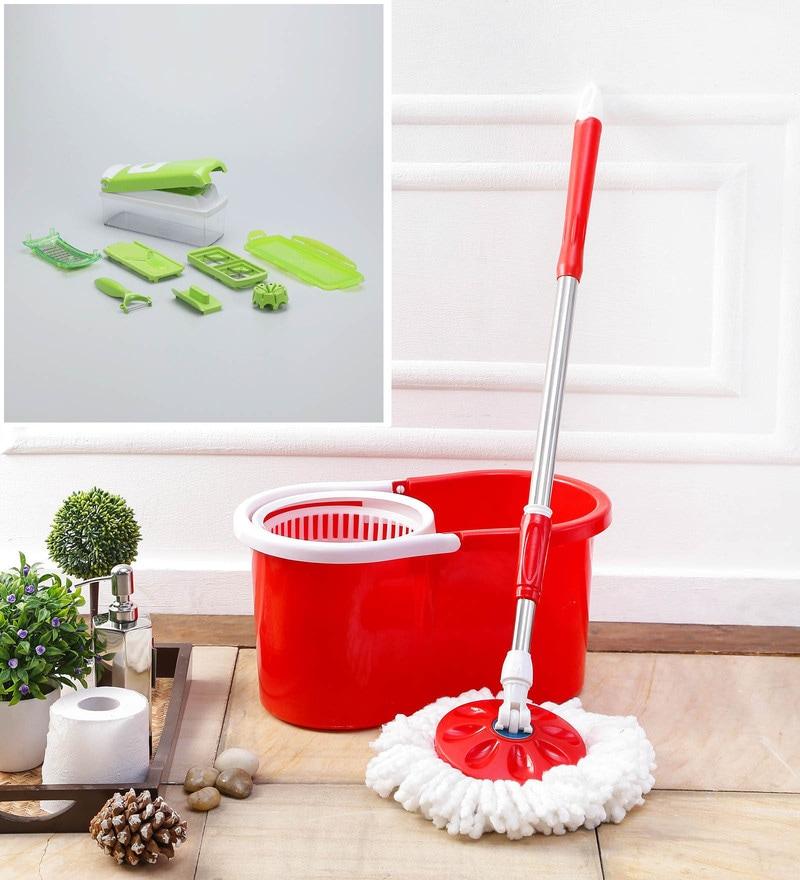 Kingsburry Combo of Red PVC  Mop With Free Vegitable Slicer