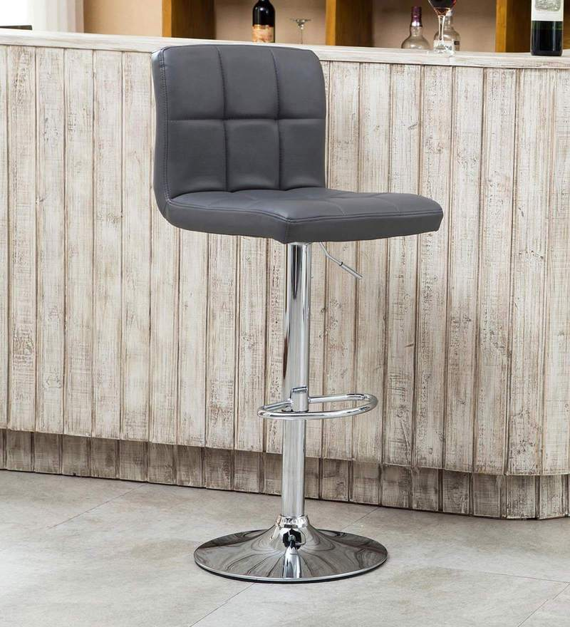 Kitchen/Bar Stool in Grey Leatherette by Exclusive Furniture