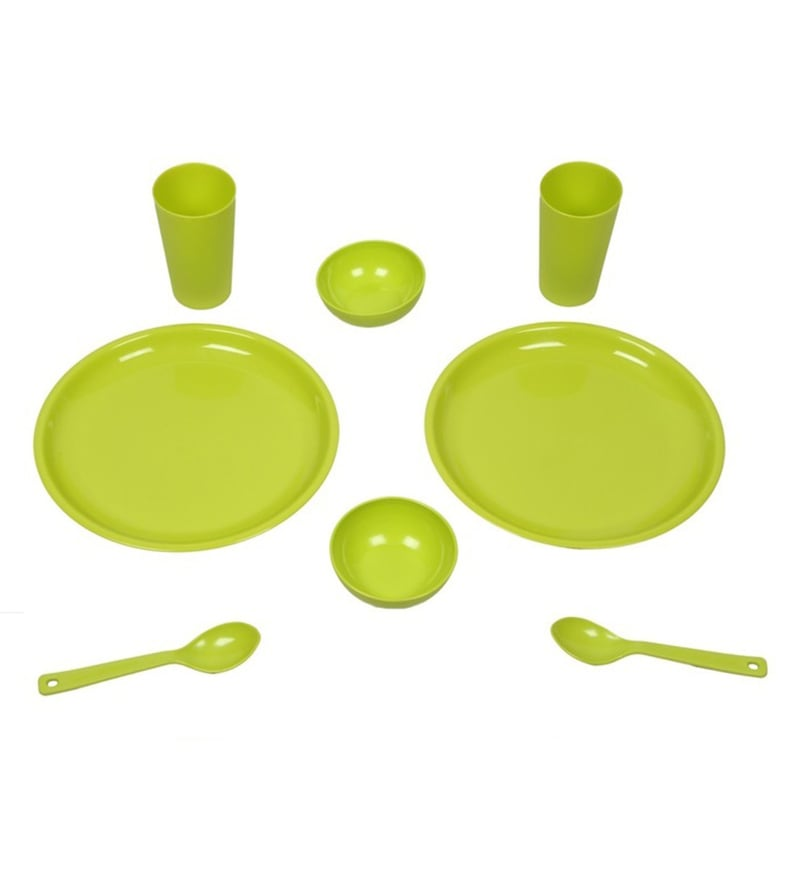 Kitchen Duniya Round Trendy Green Polypropylene Microwave Safe Dinner Set - Set of 16
